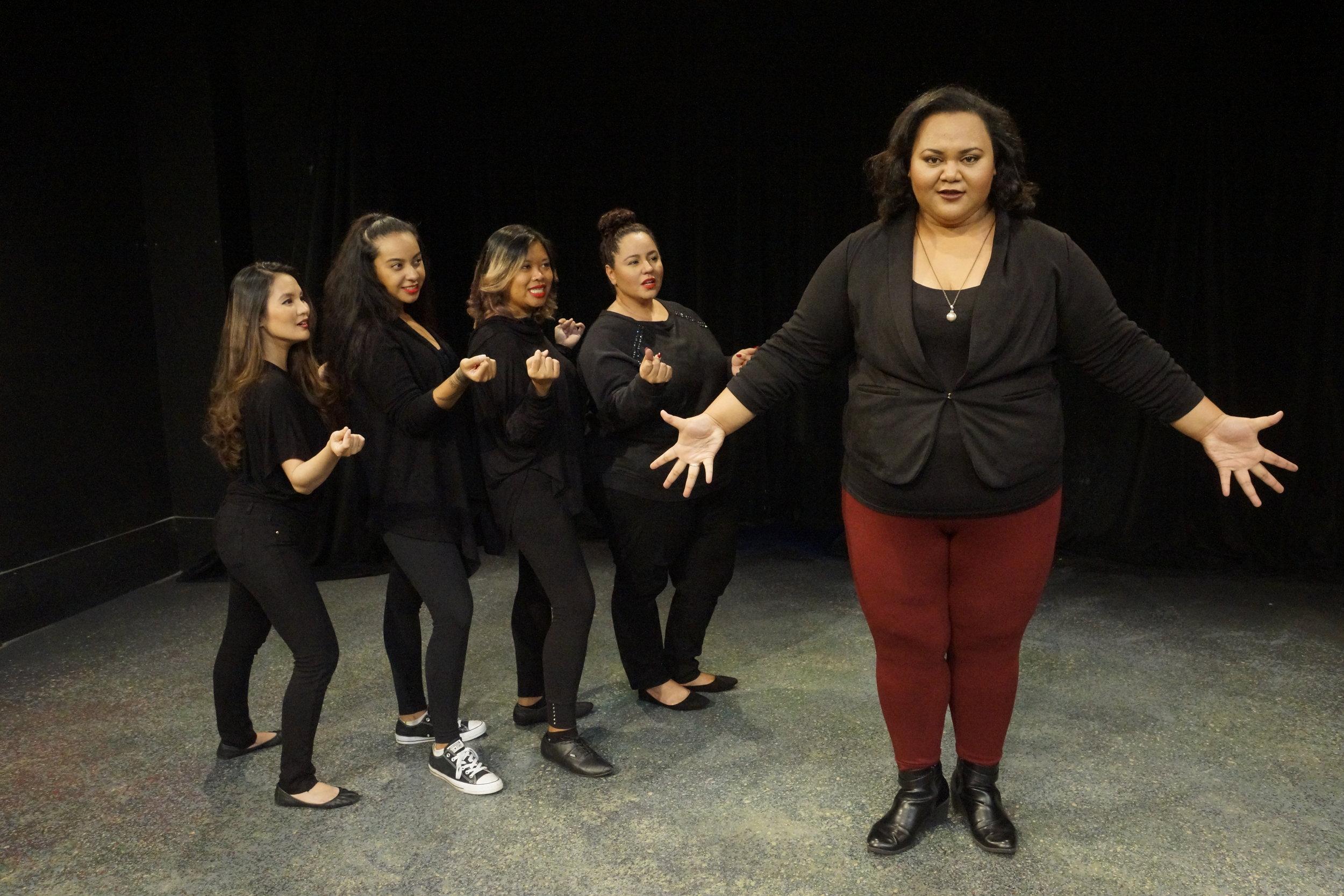 (l-r) Michelle Umipeg, Kalia Ongolea, Kristen Labiano, Kelli Pagan, and Leleaʻe Kahalepuna-Wong in Kumu Kahua Theatre's 'Puzzy'.