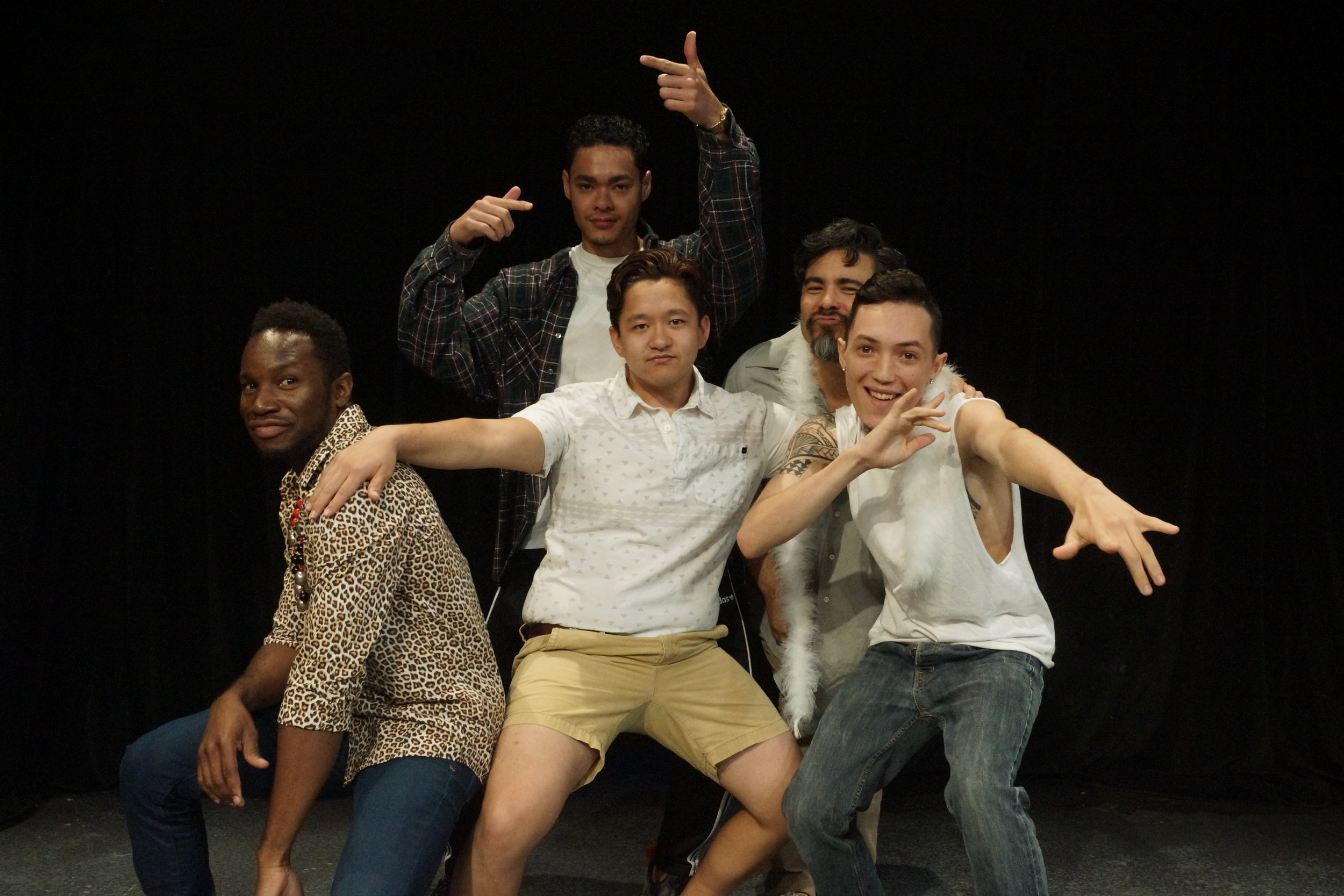 (l-r) Eric Combs, Bailey Campbell, Ryan Okinaka, and Jason Kanda in Kumu Kahua Theatre's  Black Faggot .