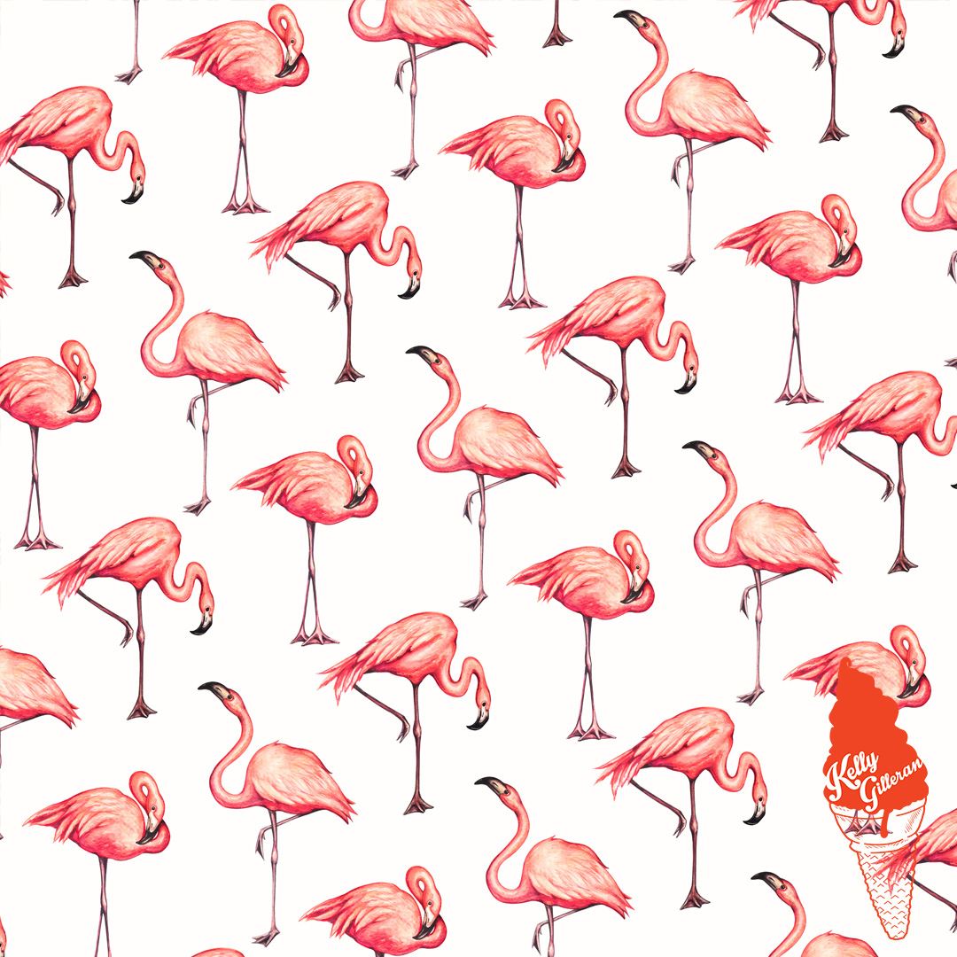 """Flamingo Pattern - White"" 2017."