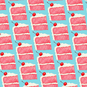 Cherry Cake Slice - Blue