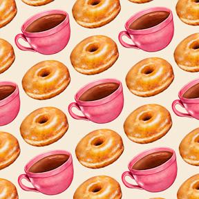 Coffee & Glazed Donuts - White