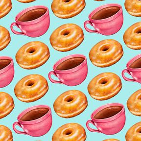 Coffee & Glazed Donuts - Blue