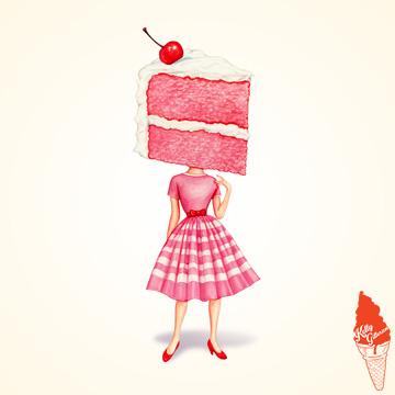 """""""Cake Head Pin-Up: Cherry"""" 2018."""