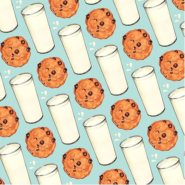 """Milk & Cookies Pattern"" & ""Cookie Pattern"" now available on @spoonflower ! 🥛🍪"