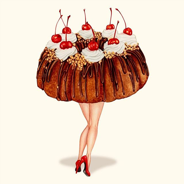 "So, I've got a lot of new paintings to share, but I'm waiting until after the opening @themodbo tomorrow night! I may share a few new ones, we'll see... Until then here's an older one in the show ""Hot Cakes - Party Bundt"" 2017"