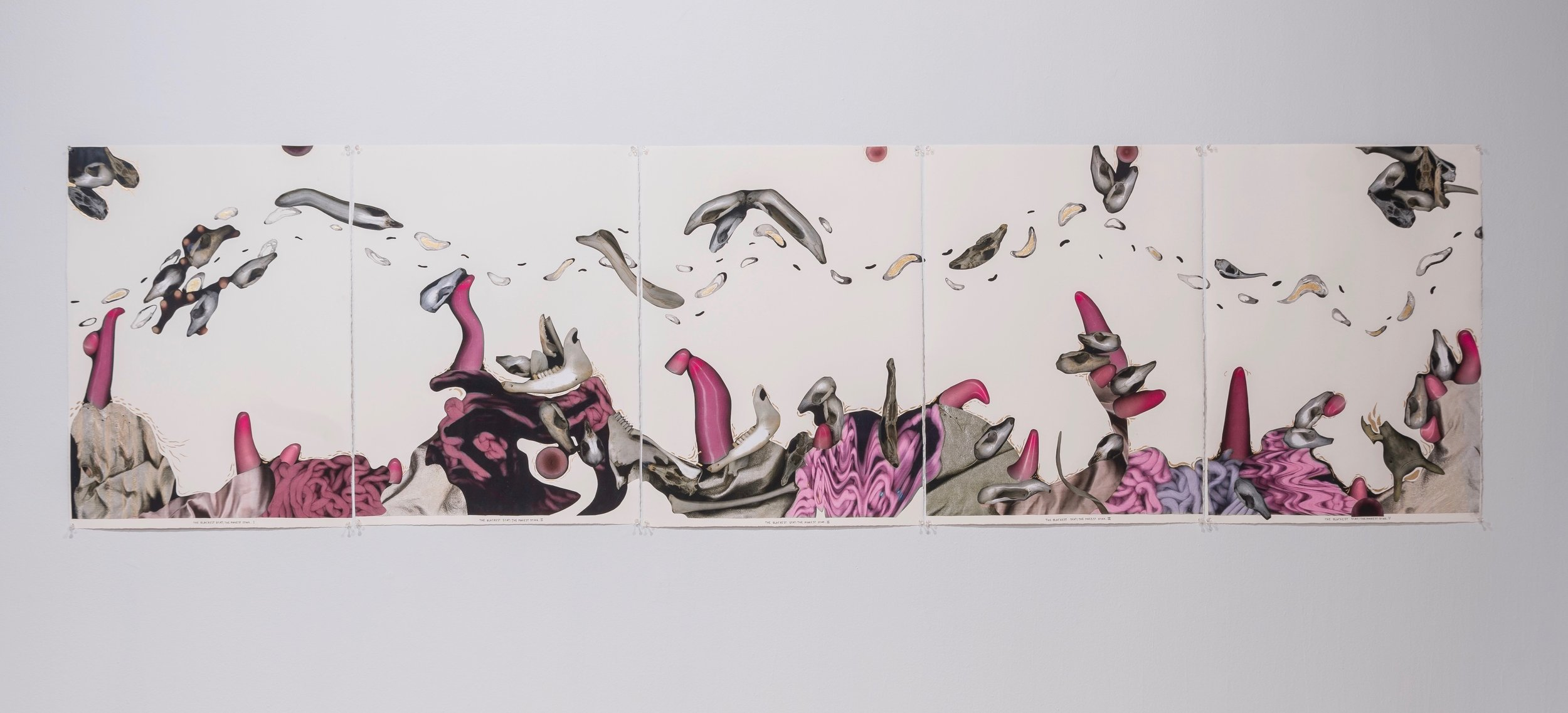 Emma Magnusson-Reid / 'The Blackest Scat; The Pinkest Stink', Collage and Mixed Media on Archers Paper, 76cm x 280cm, 2018, (image by, Jan Dallas)