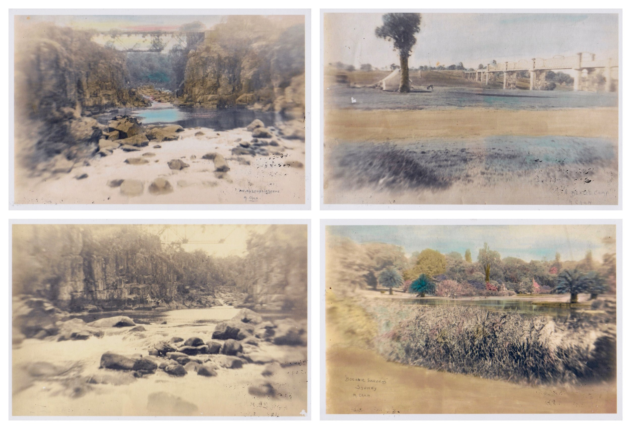 Matt Chun / Landscapes / drawing on archival photography, originally taken and hand-coloured by the artist's grandfather / 1920 - 2019