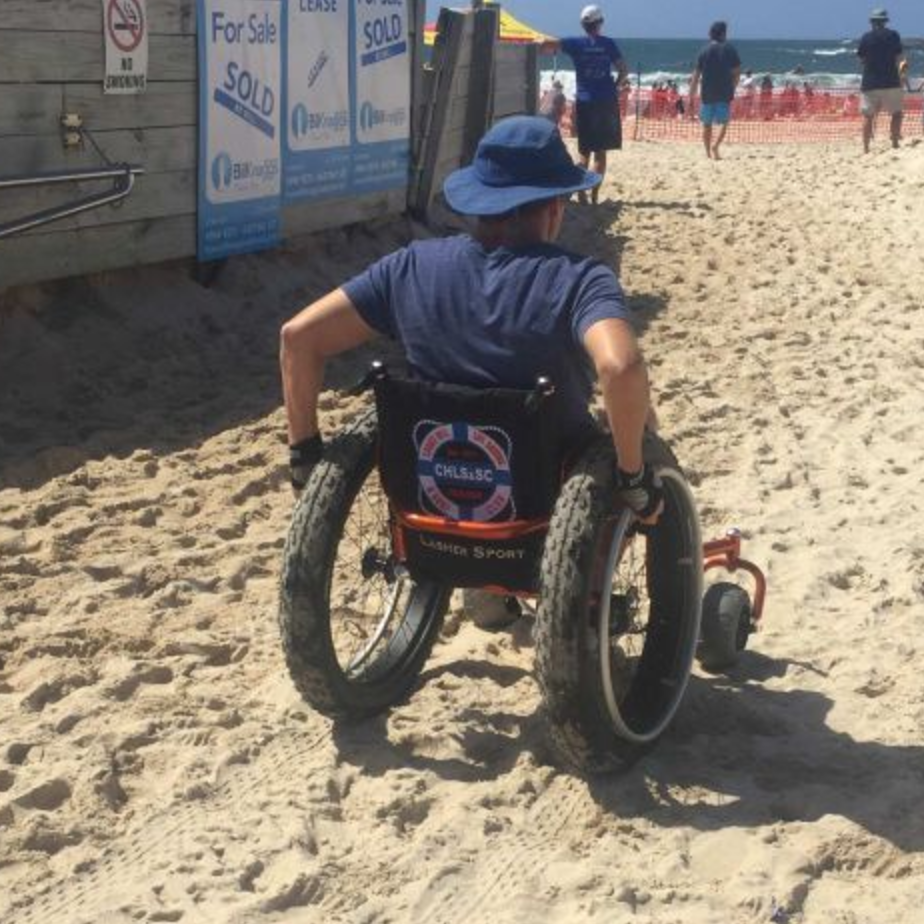 NEWCASTLE  (COOKS HILL SLSC) Central Coast of NSW  FOR MORE INFO PLEASE CONTACT CLUB:  https://cookshillsurfclub.com.au/  -   Features  Lasher Sport Beach Wheelchair