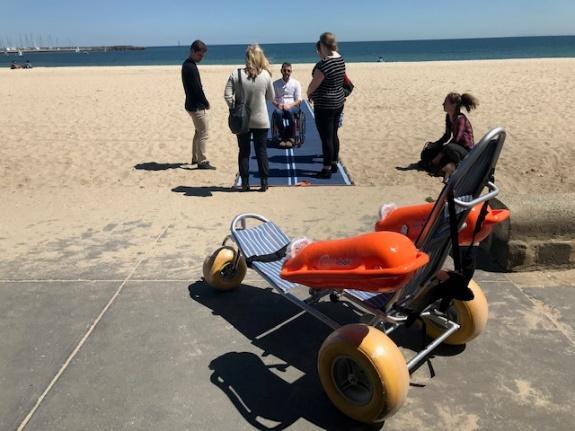 HAMPTON BEACH  35 mins south of Melbourne CBD -   Features  Accessible Beach Matting Mobi-Chair Beach Wheelchair Accessible Bathroom Accessible Shower Accessible Change Room