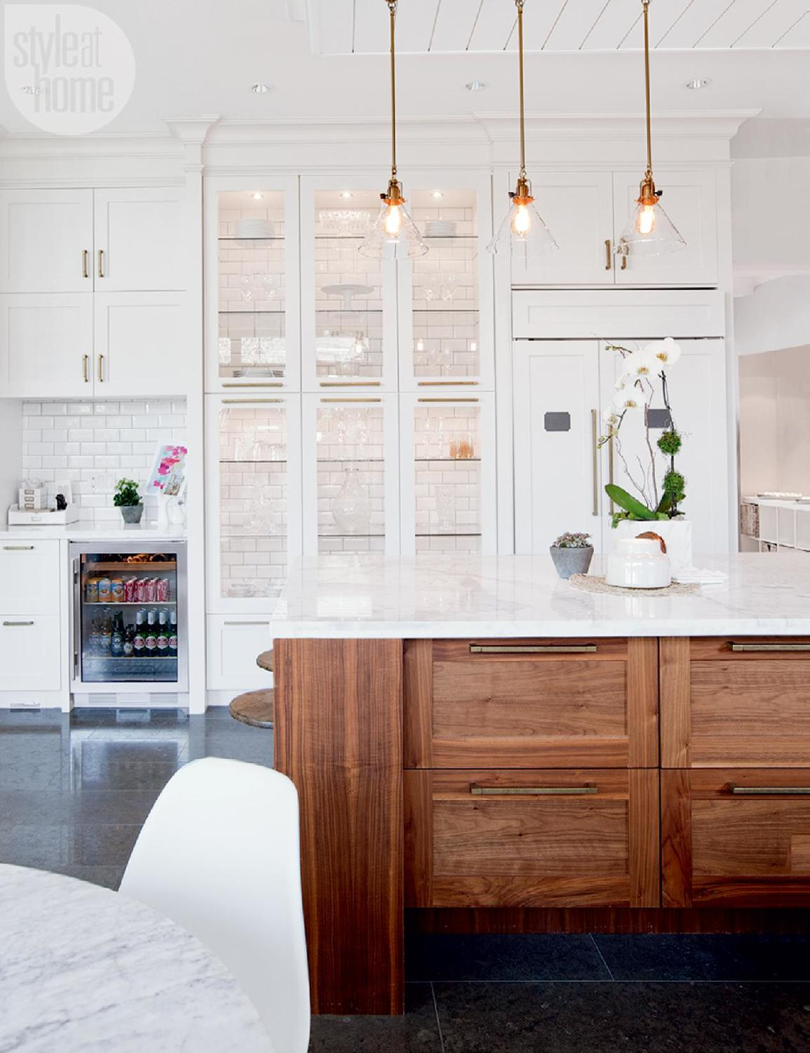 white, walnut and copper is perfect | via  Style at Home