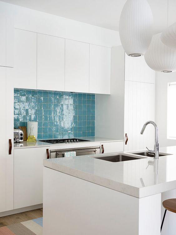 Fresh, modern, coastal kitchen with blue Zellige Moroccan tiles. Interior design:  Decus Interiors