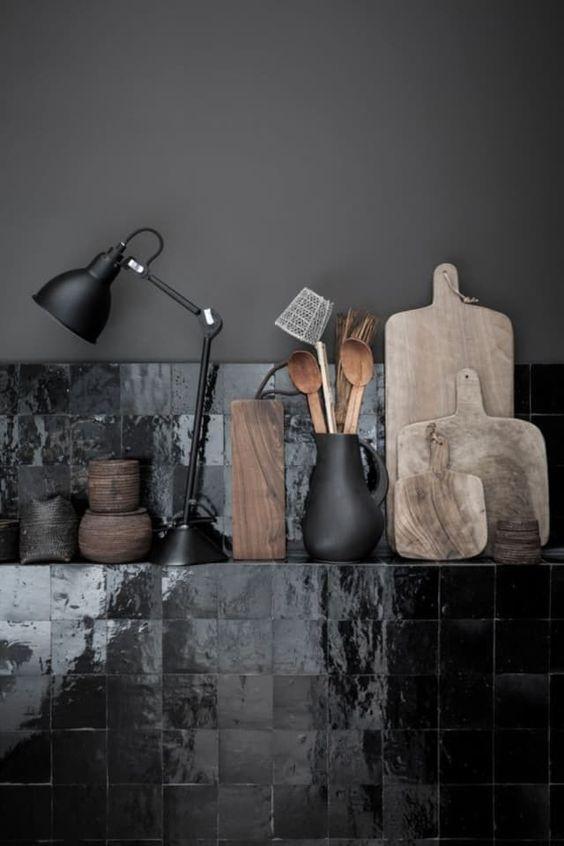 Elegant black Zellige tiles. Image credit:  Elle Decoration