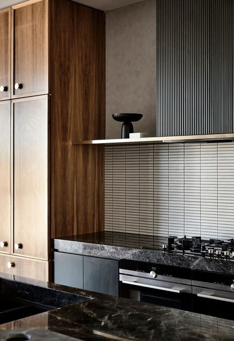 White finger tiles looking good in this luxurious modern kitchen, St Kilda East VIC. Architect:  Luke Fry