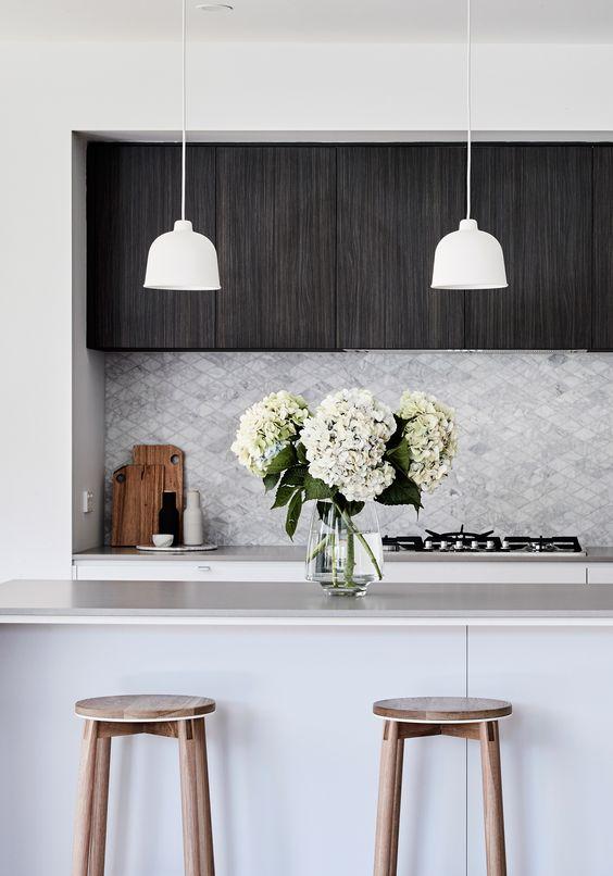 Classy marble tiles in a diamond shape. Interior design & styling:  Aimee Tarulli