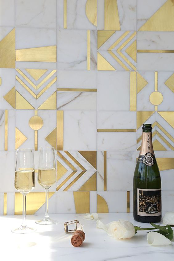 Brass and Calacatta marble mosaics from France, made to order:  Mosaique Surface
