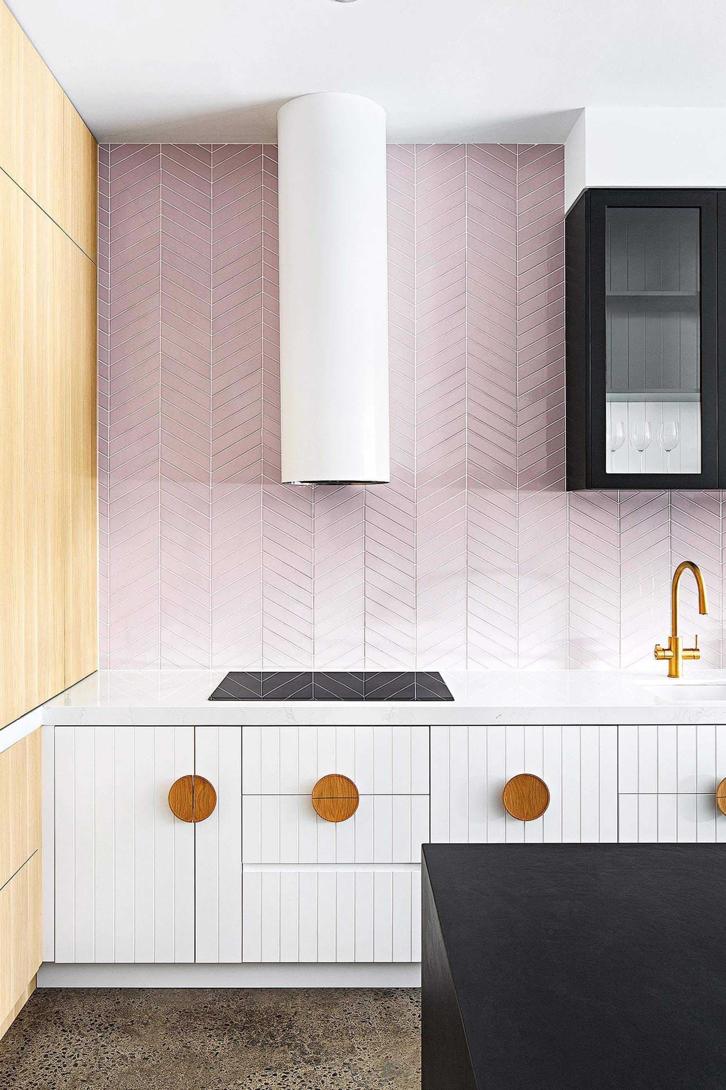 Light pink chevron tiled splashback, stunning! Design & Build:  GIA Bathrooms & Kitchens