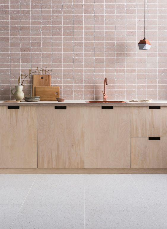Soft blush, Italian marble tiles with a tumbled edge, called Rosa Perlino. Image source:  Mandarin Stone