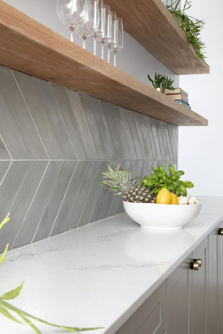 Large format, grey chevron tiles. Image source:  getinmyhome.com