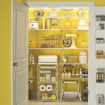 Paint your pantry walls cheerful yellow.  The Container Store