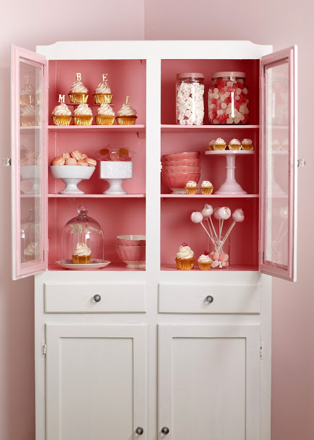 Paint the inside of your pantry cupboard pink, for something sweet.  Cakewalk Baking