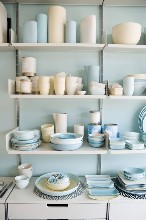 Soft blue looking wonderful behind these shelves in the  Mud Australia  shop.  Jillian Leiboff