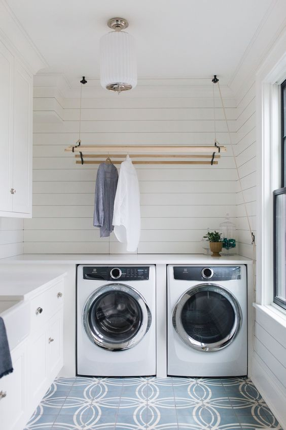 Pulley & cleat clothes dryer and shiplap walls, perfect.    Jean Stoffer Design