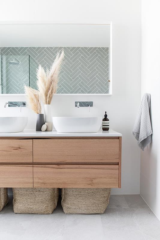 Solid Tasmanian Oak vanity unit from  Loughlin Furniture , top mount basins with chrome wall taps. | stylist Catherine Heraghty & builder Neil Hipwell for realestate.com.au  2 in Twelve  project.