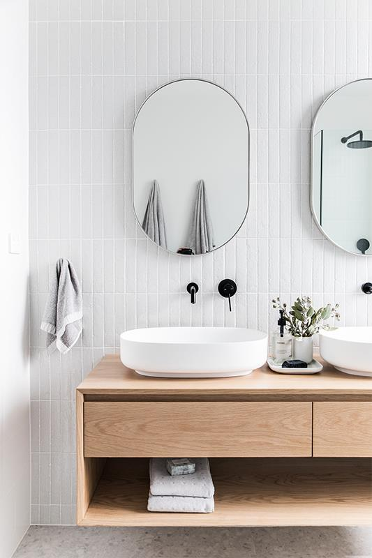Baxter double vanity from  Loughlin Furniture . Those handmade, vertical stack wall tiles are stunning. | stylist Catherine Heraghty & builder Neil Hipwell for realestate.com.au  2 in Twelve  project.