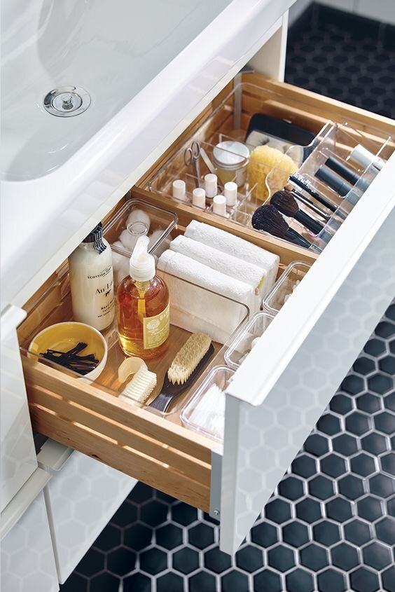 These clear organising compartments help you find everything in your vanity drawer. I use them myself, although I wish mine looked this neat! | Godmorgon storage unit from  Ikea