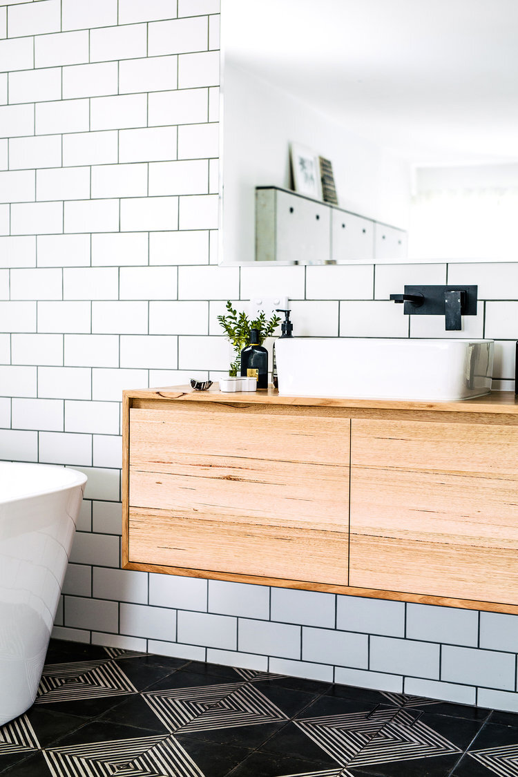 Natural timber vanity with bohemian style tiles | styling & interior design:  Sophie Bell  | photography:  Hannah Blackmore