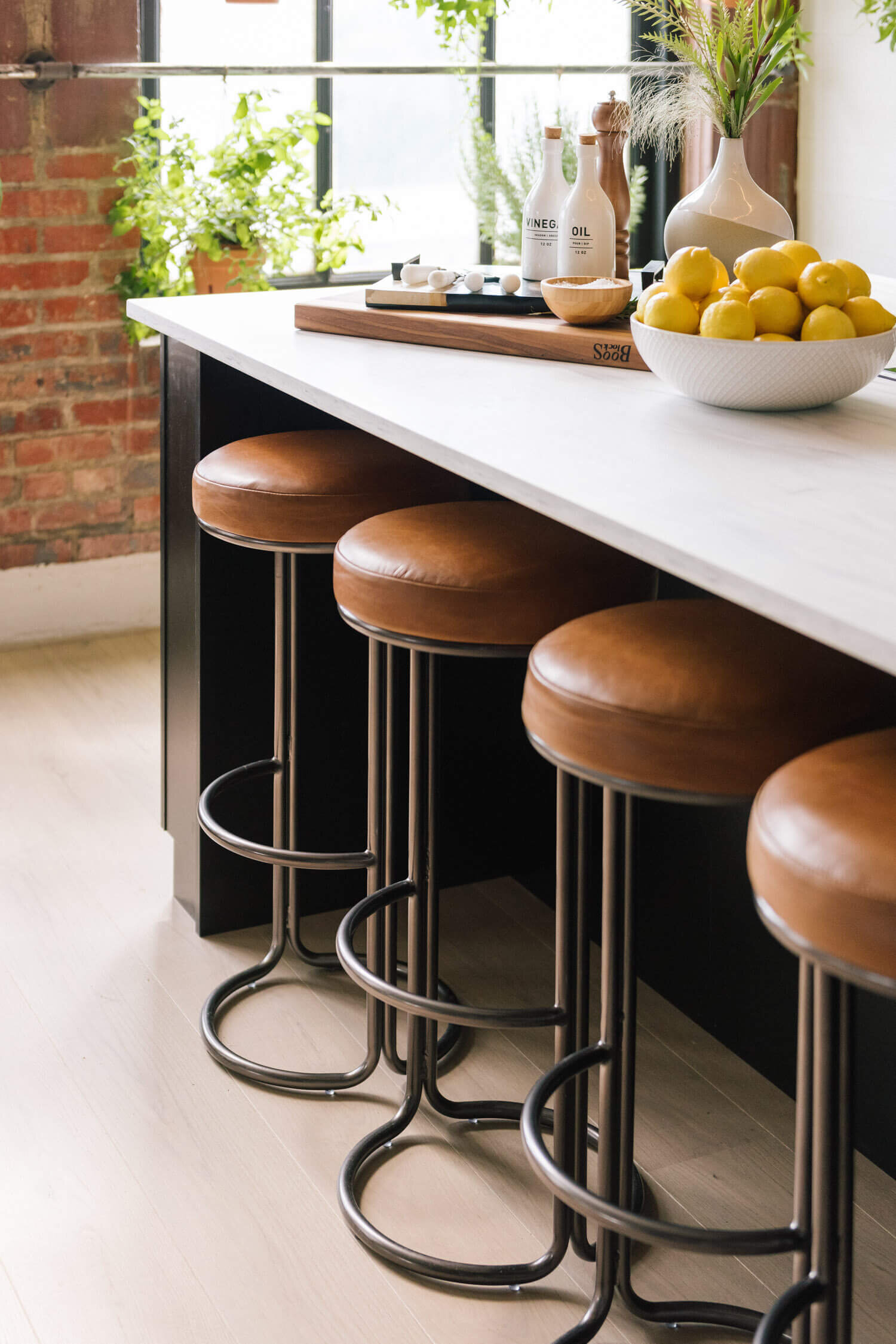 West Elm  Cora Leather Counter Stool : Breakfast Bar Zone | Season 3  loft space of Queer Eye  | Designer:  Bobby Berk