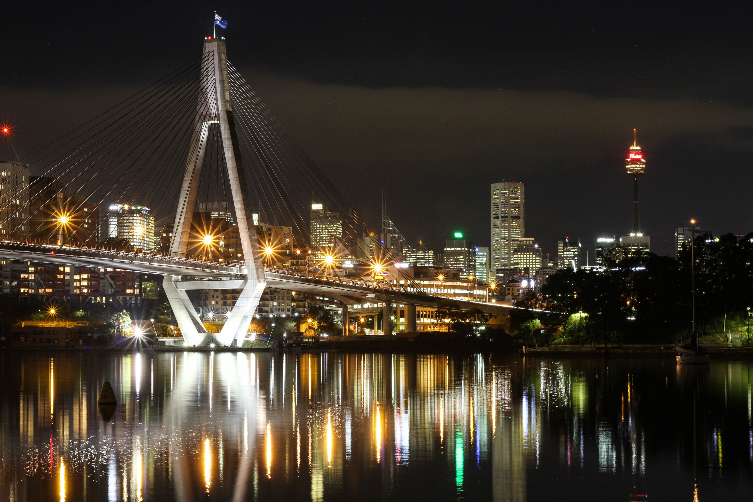 Anzac Bridge at night in Sydney