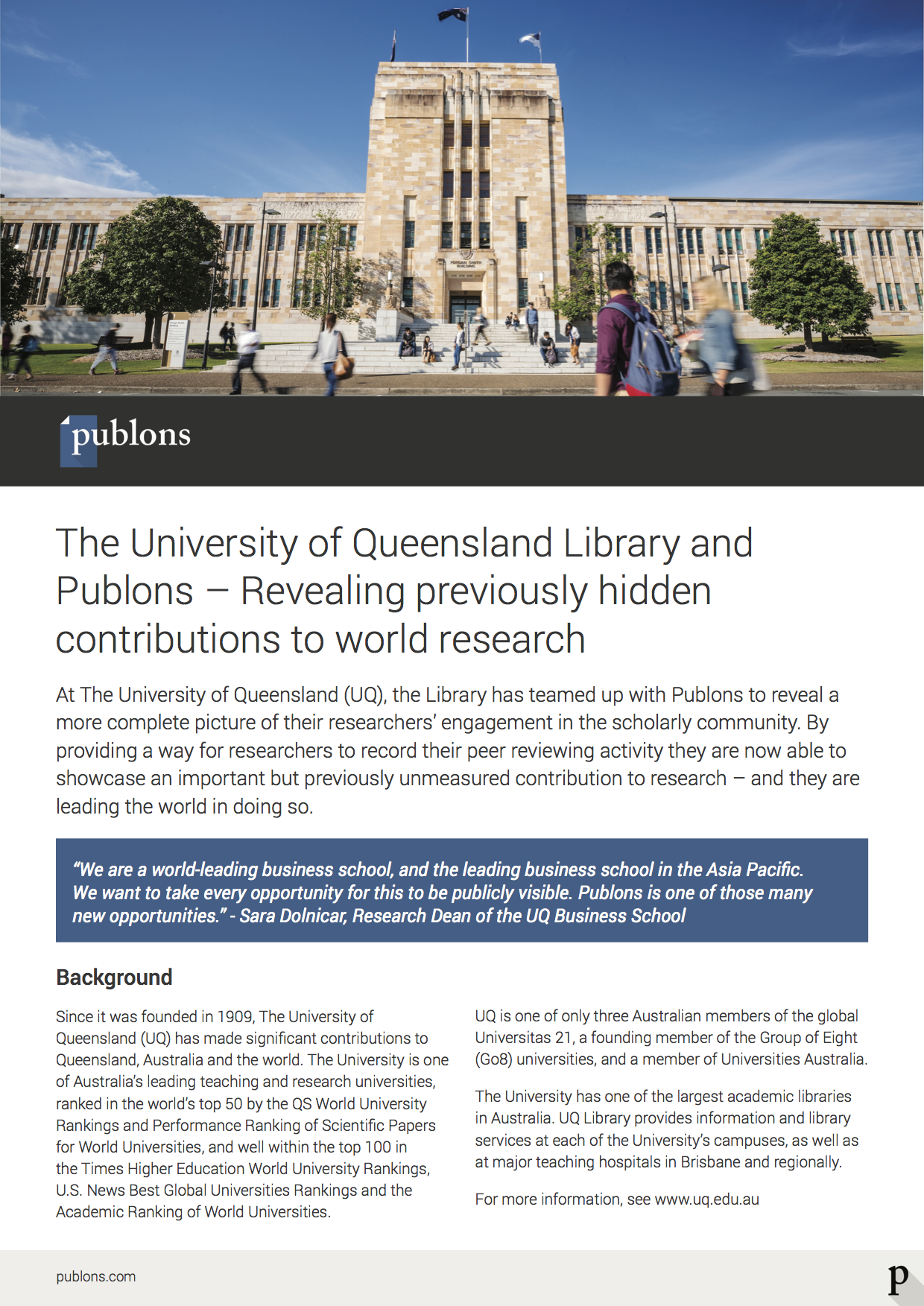 UQ: Demonstrating research excellence