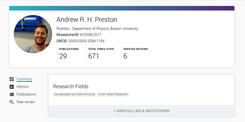 Links to full researcher profiles on Publons