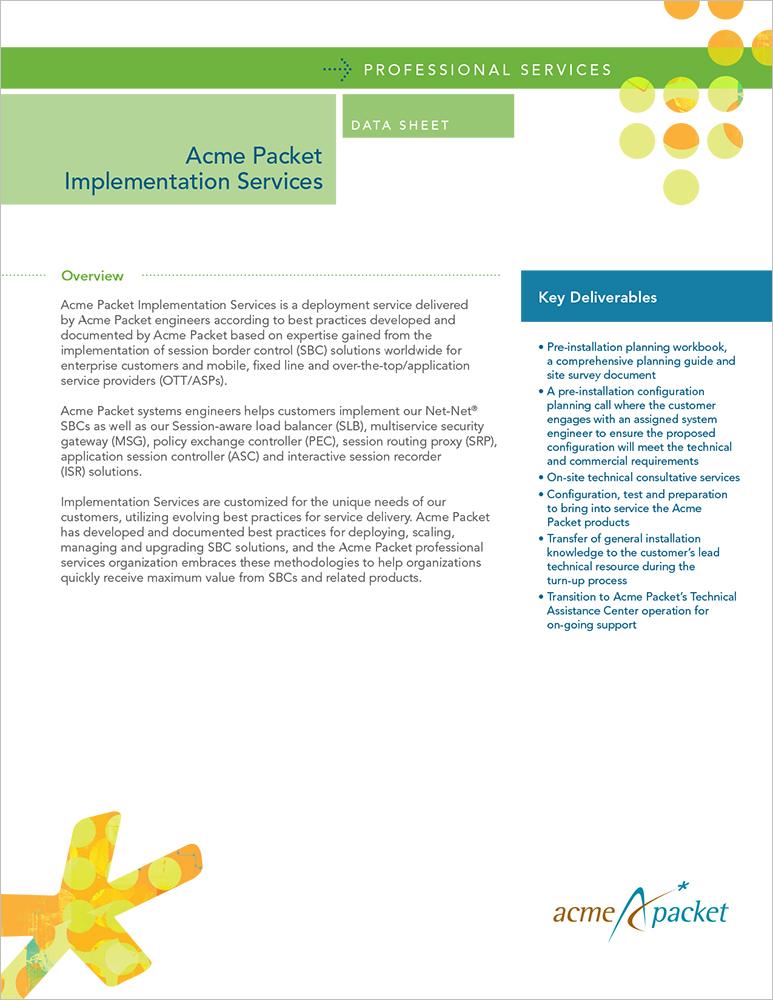 Data Sheet for Acme Packet