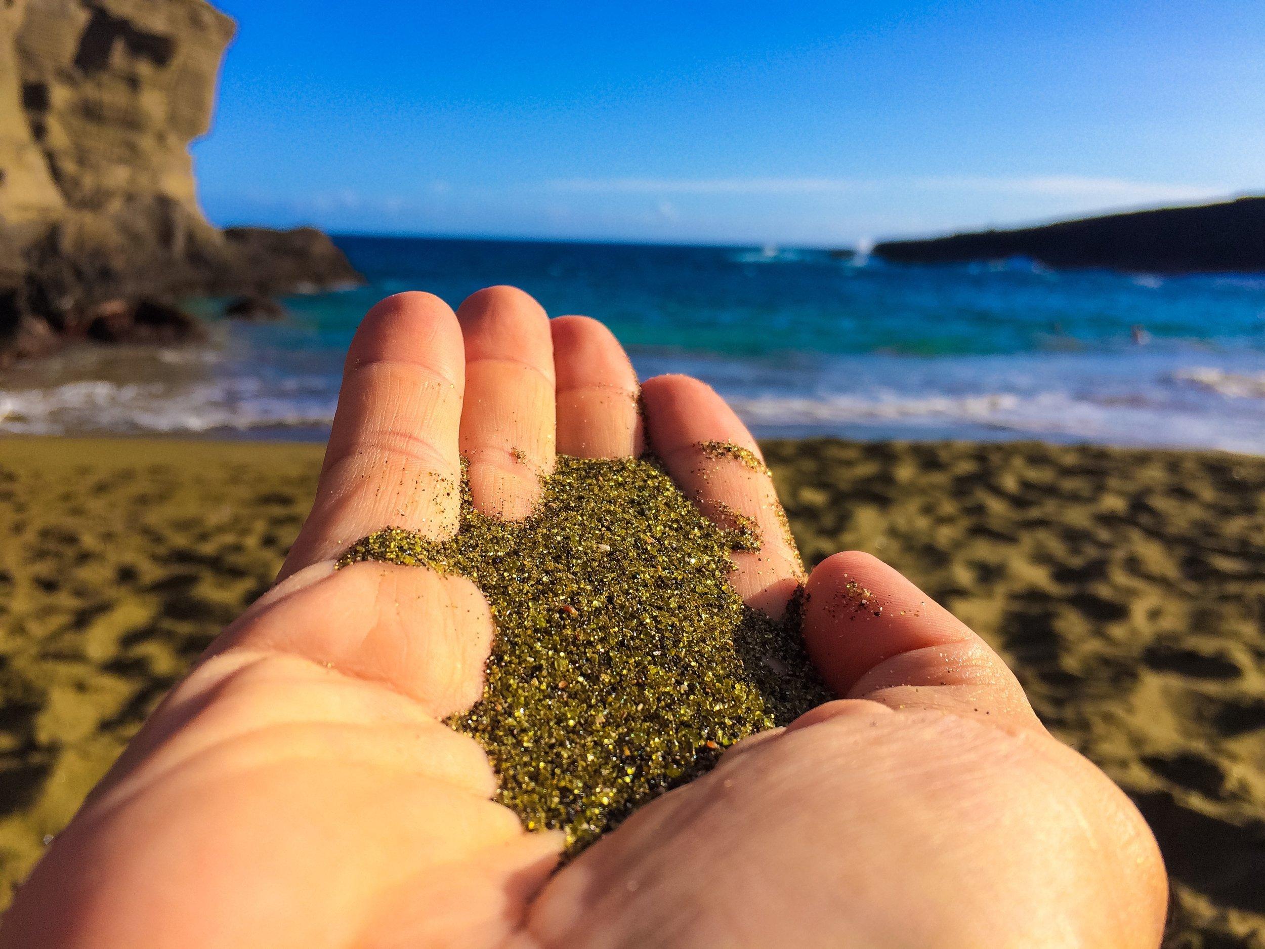 Green sand beach in Hawaii
