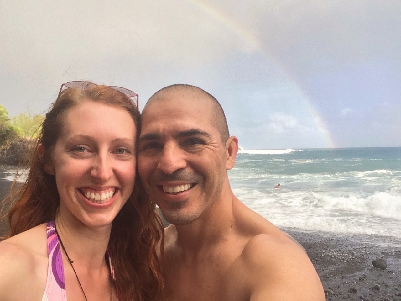 Caught in a sudden rain storm at Kehena beach in hawaii