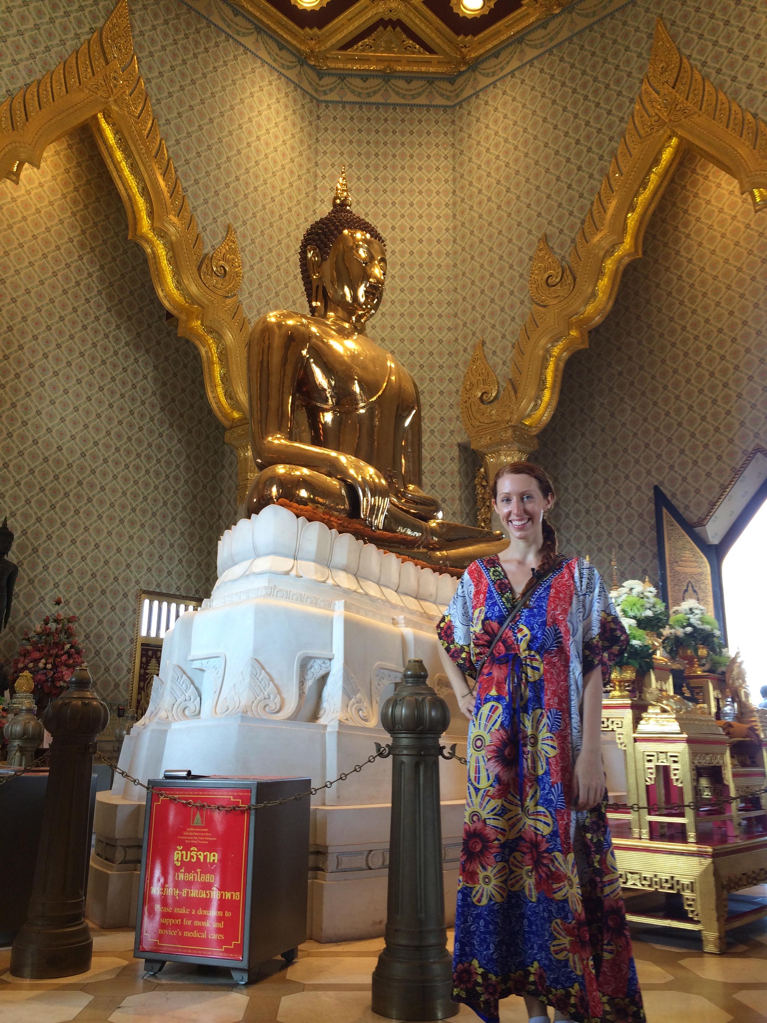"Wearing my ""Temple Dress"" at Wat Traimit"