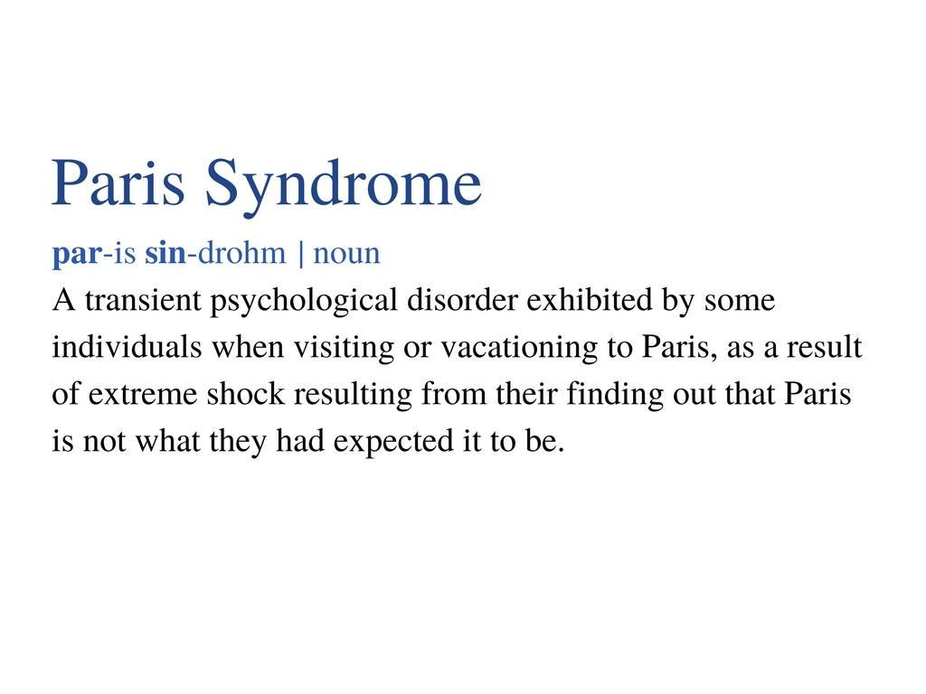 Paris Syndrome Definition