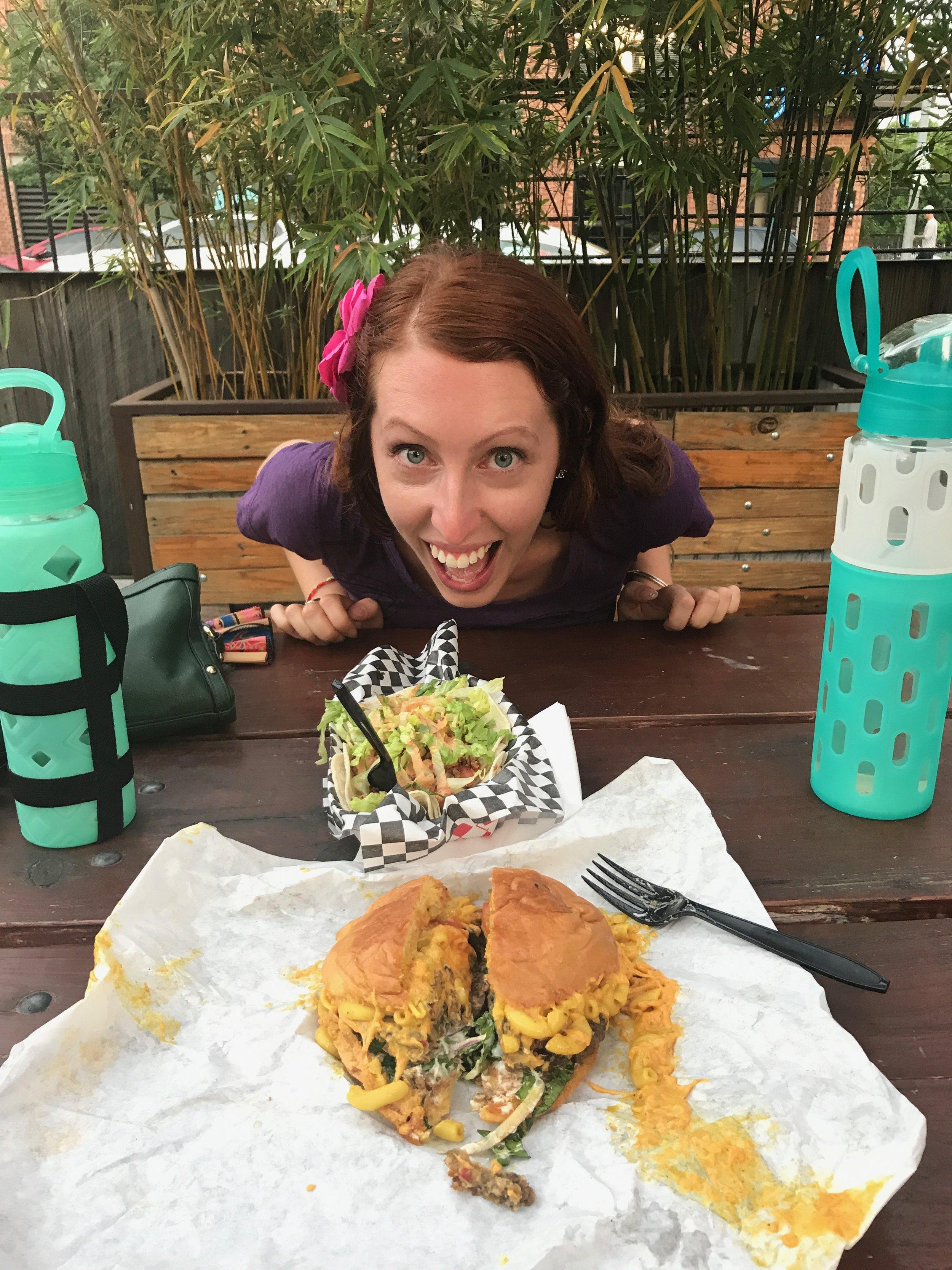 Vegan Chik'n Tacos and Bac'n Mac and Cheeze Burger at Arlo's