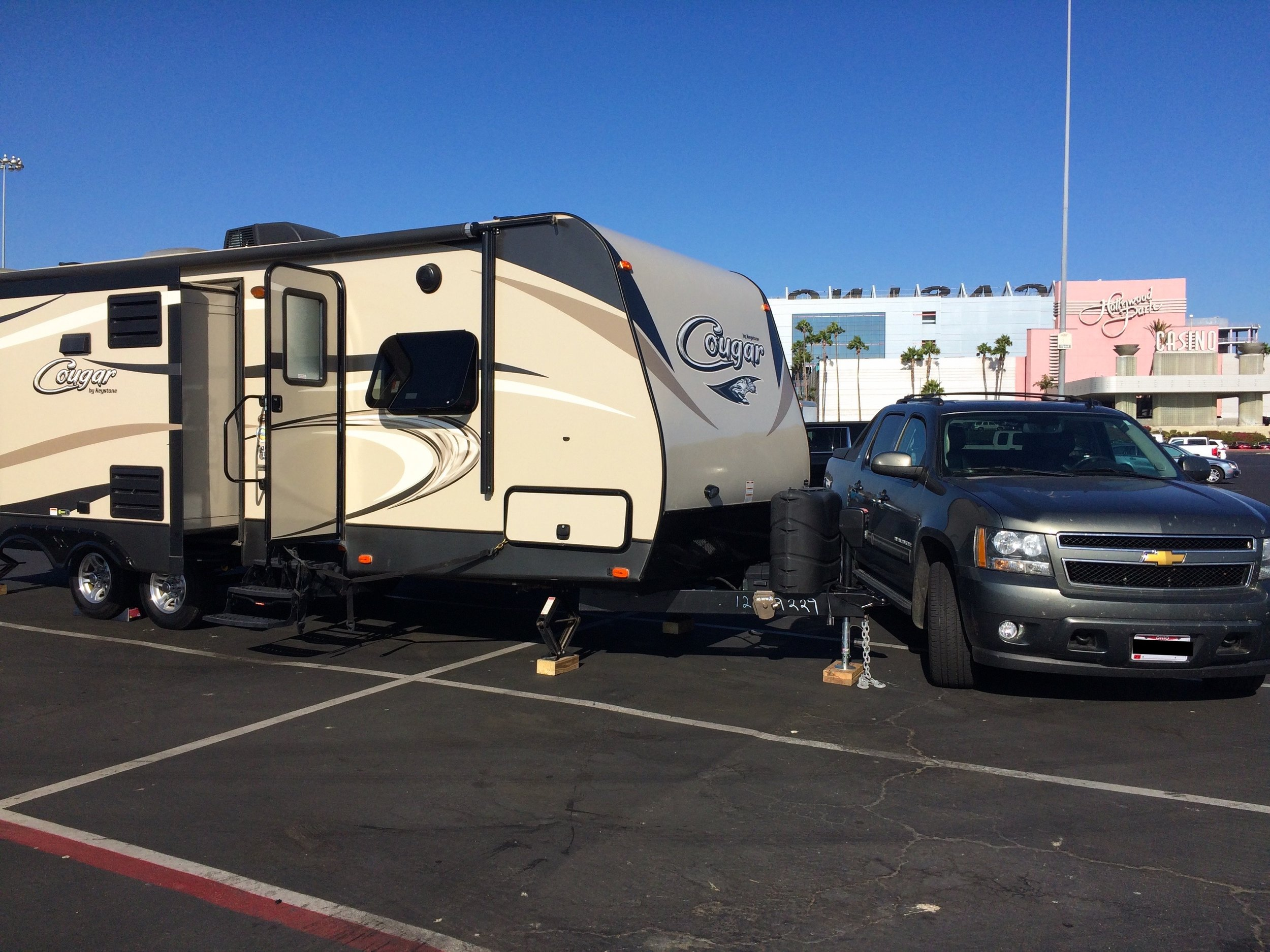 Brand new RV parked in the casino lot