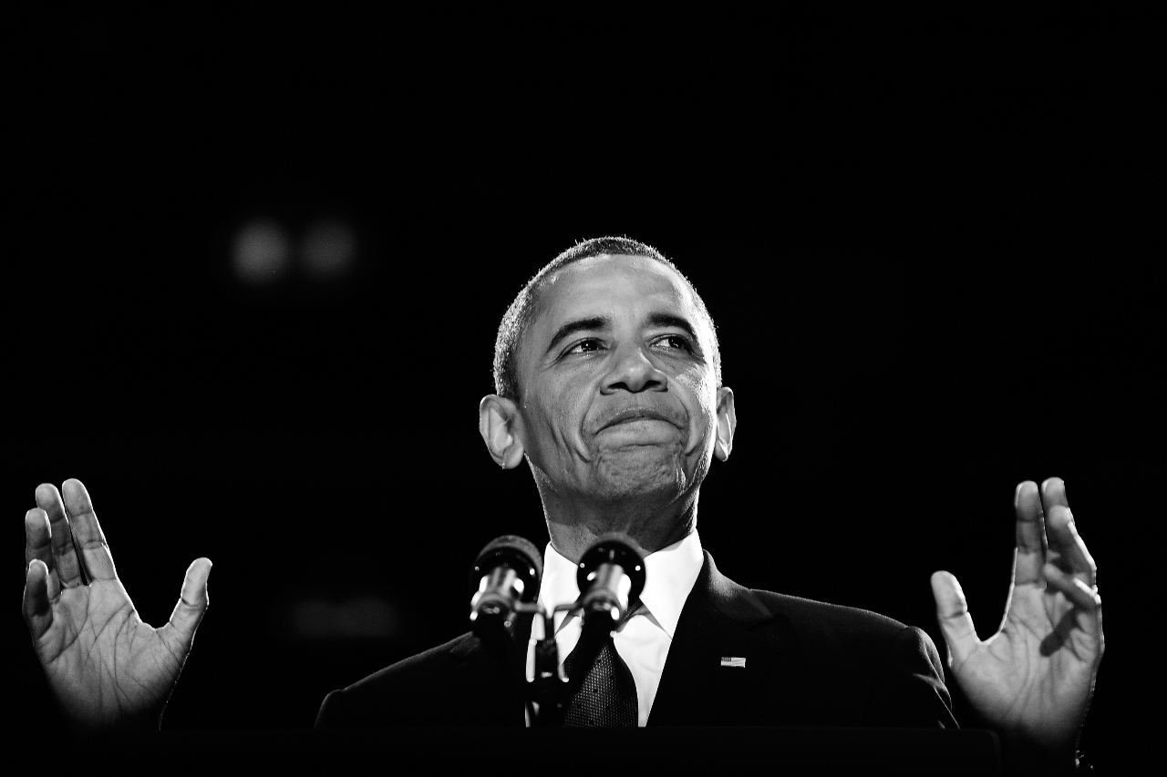 US President Barack Obama addresses a crowd of supporters on stage on election night November 6, 2012 in Chicago, Illinois. AFP PHOTO/Jewel Samad/GettyImages