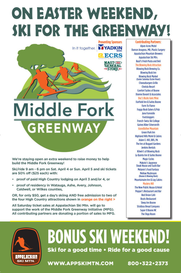 Extended Season & Easter Ski Weekend to benefit the Middle Fork Greenway, April 4 & 5