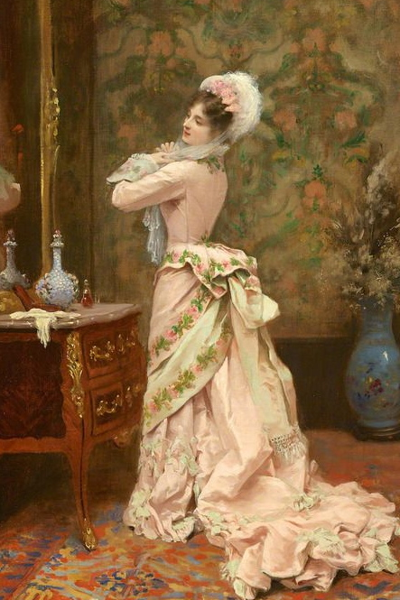 19th century ladies dress painting