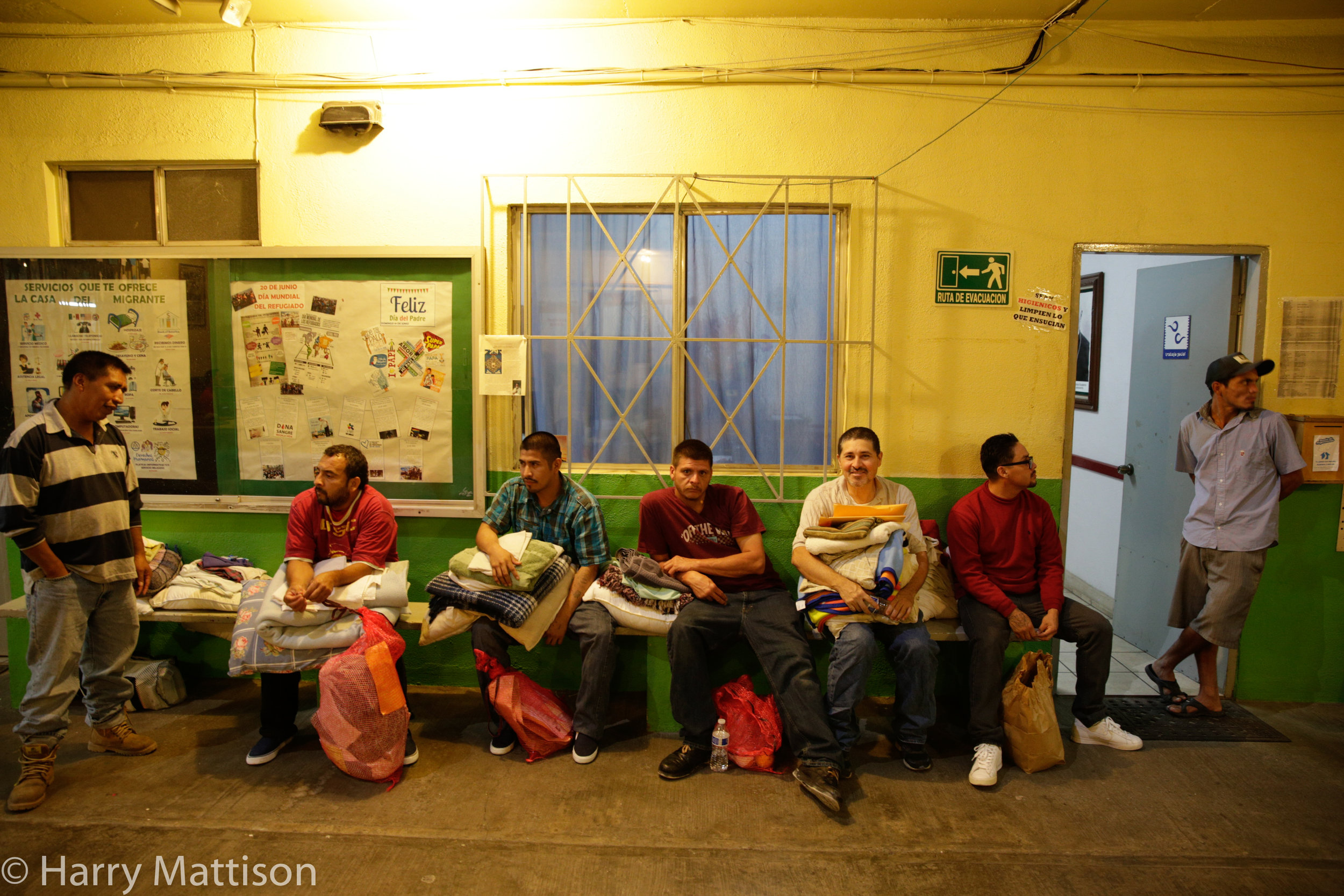 Midnight. New arrivals at the Casa del Migrante, Tijuana.