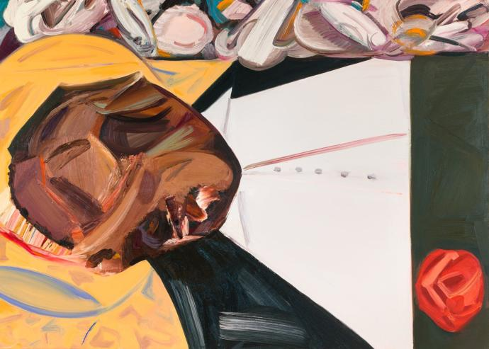 Dana Schutz,  Open Casket , 2016.Oil on canvas, 39 x 53 in. Collection of the artist; courtesy the artist, Petzel Gallery, New York, and Contemporary Fine Arts, Berlin.