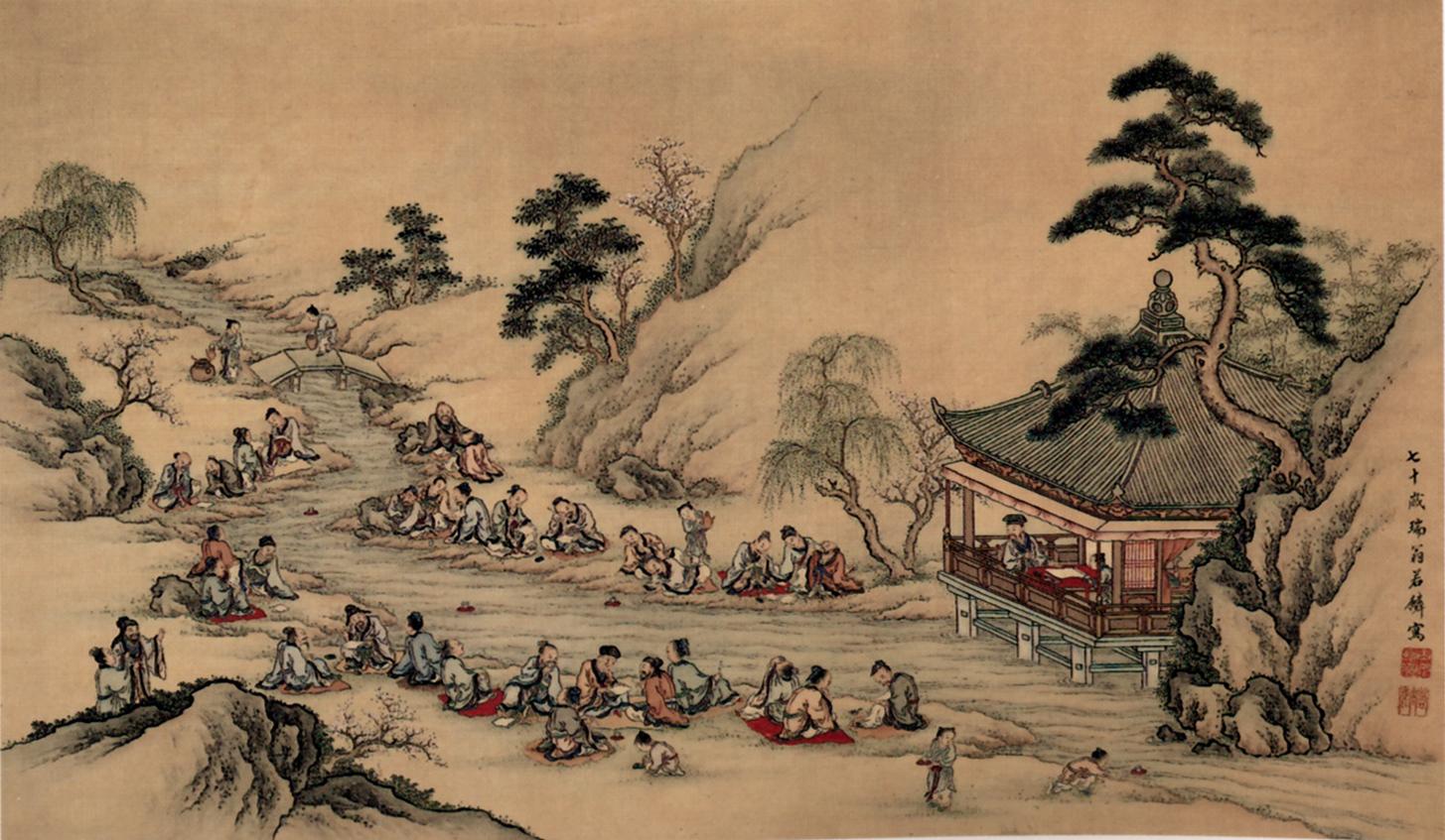 Yamamoto Jakurin,  Meandering Stream at Lan-ting , 1790. Color on silk.