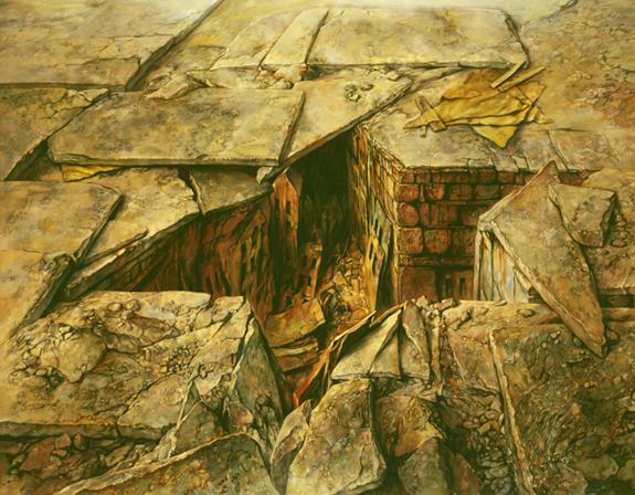Samuel Bak,  The Ghetto of Jewish History,  1976. Oil on linen, 52 x 48 in. Courtesy of Pucker Gallery, Boston.
