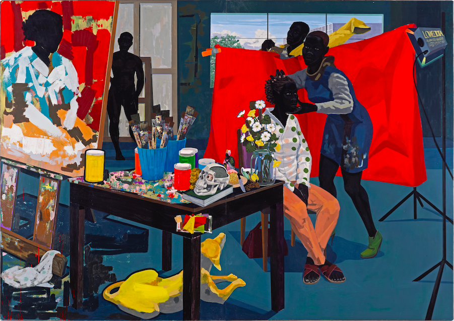 Kerry James Marshall, Untitled (Studio) , 2014. Acrylic on PVC panels,83 5/16 x 119 1/4 inches.©Kerry James Marshall. Courtesy of the artist and Jack Shainman Gallery, New York.