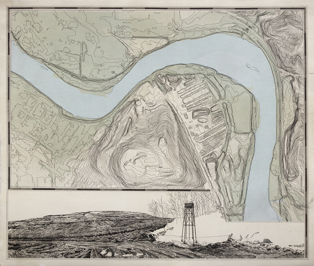 Contingency Plan  (Map). Etching on paper (printed with ferric chloride and iron sulfate pigment), 24x28 inches. Courtesy of the artist.